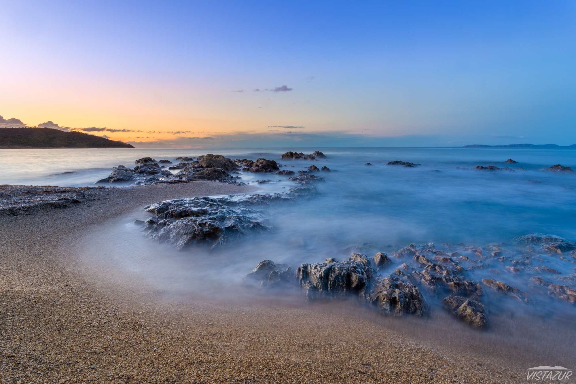 Sunset on golden islands near Vistazur villa